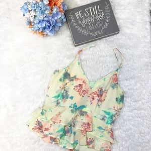 ASTR | Floral Ruffle Strappy Tank Top